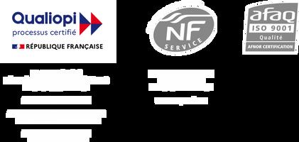 Logos des certifications de l'école de coiffure Provélite Académie